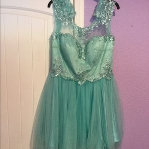 Light teal homecoming dress & white shawl